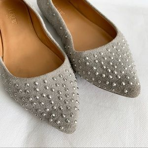 J. Crew Shoes - J Crew Studded Silver Suede Amelia Flats